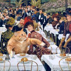 Berühmte-Gemälde-Zarathustra-Fat-Cat-New-Art-Svetlana-Petrova - Cats - Katzen Fat Cats, Cats And Kittens, Ragdoll Cats, Kitty Cats, Crazy Cat Lady, Crazy Cats, Cat Fountain, Ginger Cats, Cat Drawing