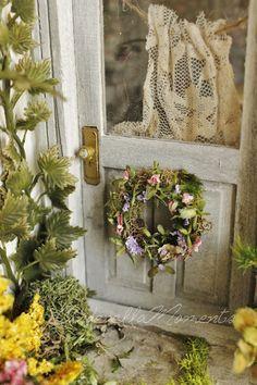 Dollhouse door wreath