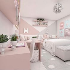 39 small and stylish bedroom design 7 Teen Bedroom Designs, Bedroom Decor For Teen Girls, Cute Bedroom Ideas, Room Ideas Bedroom, Small Room Bedroom, Home Decor Bedroom, 6 Year Old Girl Bedroom, Preteen Girls Rooms, Home Room Design