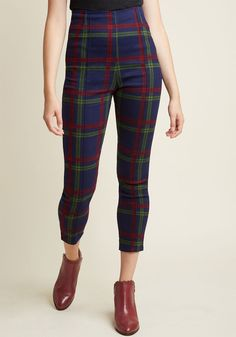 Collectif So Glad It's Plaid High-Waisted Pants in XL - Skinny Pant by Collectif from ModCloth