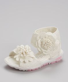 White Blossom Cindy Ankle-Strap Sandal | Daily deals for moms, babies and kids