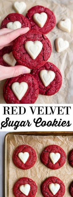 Small batch cookies: red velvet sugar cookies for Valentine's Day dessert for two. Small batch cookies: red velvet sugar cookies for Valentine's Day dessert for two. Valentine Desserts, Valentines Day Cookies, Köstliche Desserts, Dessert Recipes, Kids Valentines, Valentines Baking, Valentines Recipes, Christmas Cookies, Baking Recipes