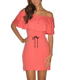 This Sunset Ruffle Kaia Off-Shoulder Dress....I could make this top ruffle on my sewing machine and upcyle an old dress.