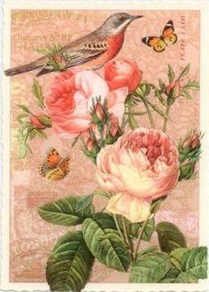 TAUSENDSCHÖN Rotschwänzchen mit Rosen Postkarte