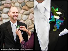 The grooms boutinnear are dyed Dendrobium Blue Orchids. Flowers by Petals Floral Design.