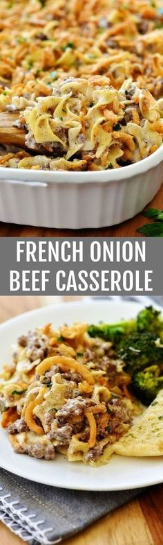 French Onion Beef Casserole is a great idea for a delicious and satisfying dinner. Beef Casserole is popular for its quickness and ease of cooking. Beef Dishes, Pasta Dishes, Food Dishes, Main Dishes, Great Recipes, Favorite Recipes, Easy Recipes, Healthy Recipes, Healthy Meals