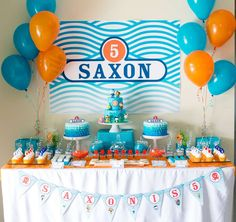 Blue and orange dessert table  at a Octonauts birthday party! See more party ideas at CatchMyParty.com!