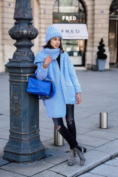 VivaLuxury - Fashion Blog by Annabelle Fleur: PARIS FASHION WEEK BLUES - I LOVE MR MITTENS Textured knit cardigan, the Ribble beanie & Billie scarf | R13 jeans | LOEWE small Puzzle bag & trip-color leather knot key ring | ISABEL MARANT Danae leather ankle boots | RACHEL ZOE Set of 5 rings | JULES SMITH crystal claw ring | VITA FEDE Grape crystal ring March 11, 2016