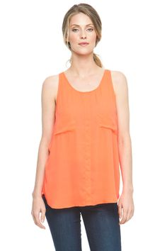 Oversized tank with flattering movement and front pocket detailing. Brighten up your look with this beautiful orange summery tank with shorts for a fun summer look or tuck it into a pencil skirt and wear with a blazer to the office. Rent Clothes, Le Tote, Summertime Outfits, Summer Looks, Pencil, Style Inspiration, Blazer, Pocket, Orange