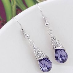 ea8bcd734 Amazon.com: Latigerf Long Teardrop Earring White Gold Plated Swarovski  Elements Crystal Purple: Clothing