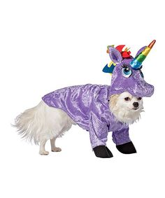 Pooches will look oh-so magical in this sparkling and colorful unicorn costume.