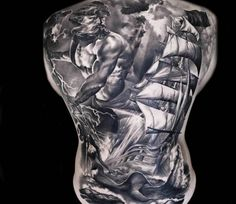 Nautical Back tattoo by Denis Sivak