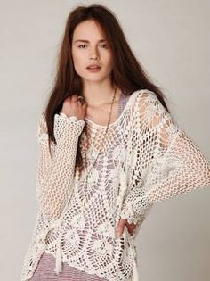 crochelinhasagulhas: Blusa manga longa em crochê