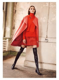 Lookbook Dorothee Schumacher - FW15 | New collection Fall - Winter 2015 | Women fashion brand | Red coat, skirt, sweater