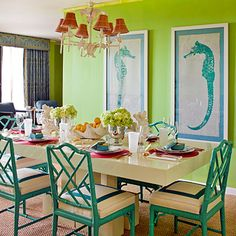 Set a Sea of Color | Interior designer Lindsey Harper gives a nod to the punchy hues and seaside motifs of Palm Beach, Florida, with her preppy and posh table setting.