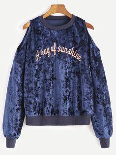 Navy Cold Shoulder Embroidered Velvet Sweatshirt