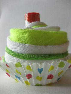 Girls Green Cupcake Surprise: Ankle Socks, Colorful Hair Bands with a Cherry Lip Balm on Top