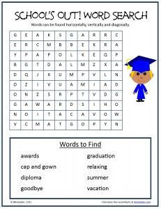 Free School's Out! Word Search with words to celebrate the end oLf the school year. End Of School Year, School Holidays, Summer School, School Fun, School Ideas, End Of Year Activities, Classroom Activities, Graduation Words, School Forms
