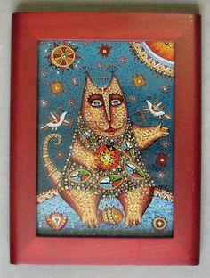 Cat with Lady Bug Reverse Painting on Glass Framed Artist V Marko | eBay
