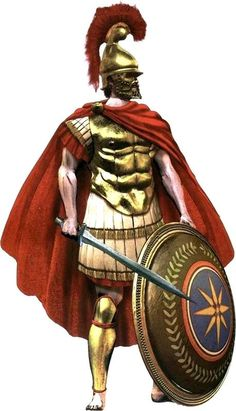 Macedonian Hypaspist (heavy infantry), with muscled cuirass, double-edged sword, Phrygian helmet and the Vergina sun emblazoned on his shield ./tcc/