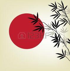 Bambus-Zweige auf einem Hintergrund der roten Sonne