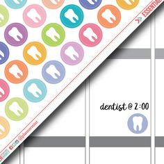 Tooth Planner Stickers - Dot Icon - Erin Condren Life Planner - Happy Planner - Dentist Appointment - Dental - Doctor - Matte or Glossy