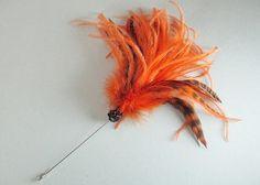 Hutnadel orange Straußenfedern mit schwarz Strass