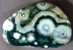 LIVELY MARKINGS MADAGASCAR ORBICULAR OCEAN JASPER 39x26MM FREEFORM CABOCHON