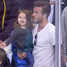 Pin for Later: David Beckham Doesn't Have a Favorite Child, but One Gets Special Treatment In May Harper flashed a big smile at an LA Kings hockey game. David Beckham Family, David Beckham Style, Vic Beckham, Harper Beckham, David And Victoria Beckham, Victoria Beckham Style, La Kings Hockey, Dad Baby, Charming Man