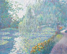Artist: Adams Title: Bridge with Waterlilies (In the Style of Claude Monet) Medium: Acrylic with sand on canvas, signed Size: 40 x 50 in. (101.6 x 127 cm)