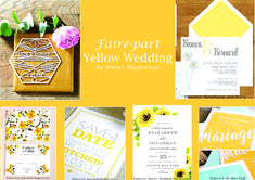 si vous rêvez d'un #mariage #solaire, sous les sunlights des #tropiques.... mais en Belgique (et oui!), le meilleur remède est une #décoration dédiée au #jaune ! Avec le #bleu clair, il vous donnera l'impression d'être déjà à la #plage :D Cette épingle est dédiée au faire-part. #jennyshappenings #weddingplanner #eventplanner