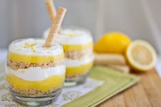 """Post image for Dessert In A Glass: Lemon """"Pucker Up"""" Parfaits with Vanilla Bean Cream-- make this with gluten free short bread cookies for joben! Desserts In A Glass, Great Desserts, Delicious Desserts, Yummy Food, Lemon Dessert Recipes, Lemon Recipes, Sweet Recipes, Panna Cotta, Dessert Shooters"""