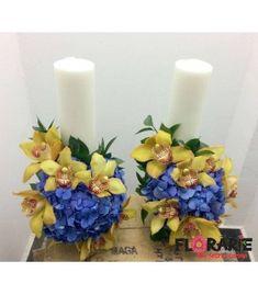 Lumanari nunta scurte hortensie albastra si orhidee cymbidium