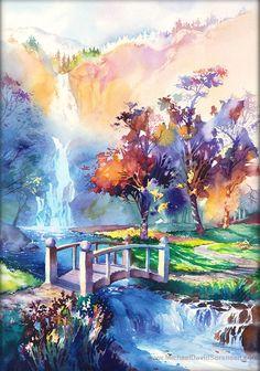 Waterfall Landscape Watercolor Art Prints. by MichaelDavidSorensen, $30.00