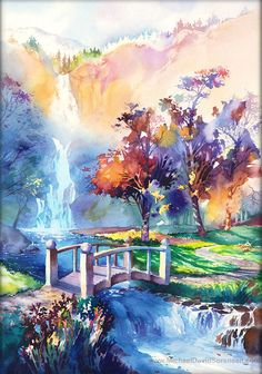 Fall Trees. Autumn Tree.  Waterfall Watercolor Art Print. Hiking Trail. Running Trail. Stream. Fall Colors. Path. Grass. Orange. Green. Blue