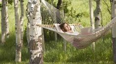 How to make a hammock!  You can secure the hammock around two tree trunks with rope.