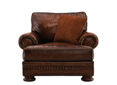 Luxury, comfort and elegance will grace your home when you add this Foster leather chair. Featuring rich full-grain, semi-aniline leather, this chair's beauty is enhanced by attractive nailheads on the base and rolled arms as well as removable bun feet with a deep finish. Sophisticated and stylish, this chair will be the center of attention.
