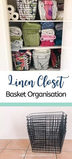 Sick of not being able to find anything and having linen everywhere? I share my top tips for linen cupboard organisation and my Kmart basket linen makeover. Get your linen closet organised in a flash with these simple changes Linen Closet Organization, Home Organisation, Organization Hacks, Bathroom Organization, Organizing Ideas, Laundry Decor, Laundry Storage, Cupboard Storage, Minimalist Living Tips