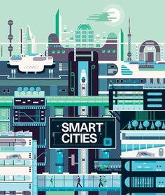 illustration minimaliste mais foisonnante qui reflète bien une ville, un réseau. attention cependant à la lisibilité.