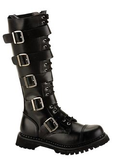 RIOT-20 Black Leather Boots - Demonia boots and shoes