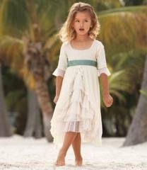 Flower girl dress white and green!