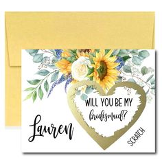 Sunflower Will You Be My Bridesmaid Scratch Off Card, Bridesmaid Proposal Card, Rustic Bridal Party Ask Bridal Shower Favors, Wedding Favors, Scratch Off Cards, Gold Envelopes, Bridesmaid Proposal Cards, Ways To Propose, Will You Be My Bridesmaid, Baby Shower Thank You, Summer Birthday