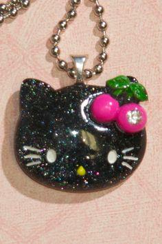 Glitter Hello Kitty Necklace (Black w/pink cherries) $10.00