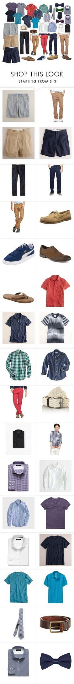Men's Summer Capsule Wardrobe - Casual + Business Casual by pearlsandcupcakes on Polyvore featuring moda, J.Crew, Puma, Clarks, MANGO, Gap, Old Navy, Scotch & Soda, Banana Republic and Zara