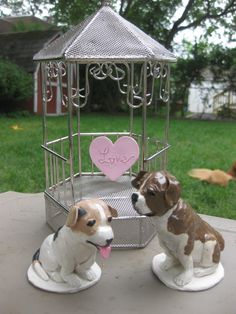 Custom pair of dog clay cake toppers