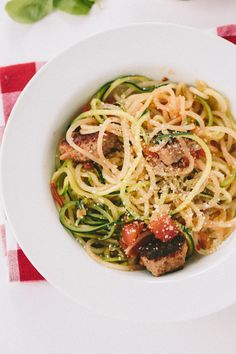 Spicy Sausage and Basil Potato and Zucchini Pasta