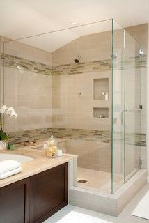 Love this shower. Clear Glass Panels from floor to ceiling always keep the space open