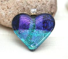 Purple and Turquoise Heart Fused Glass Pendant.