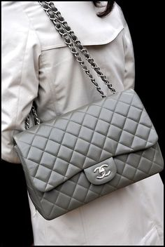 Grey Chanel Flap Bag - Quilted Leather - Designer Handbags for Women #chanel #couture