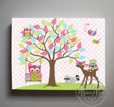Tree Nursery Canvas Art Owl Decor Girls wall art Pink by MuralMAX